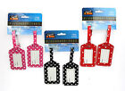 PACK OF 2  POLKA DOT LUGGAGE LABELS/SUITCASE TAGS - ID NAME -TRAVEL/HOLIDAY CASE