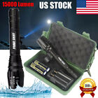 15000LM XML T6 Zoomable Tactical LED Flashlight Torch Lamp +18650 Battery+Charge