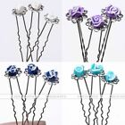 10x Fimo Crystal Polymer Clay Rose Flower Hairpin Party Wedding Head Jewelry Lot