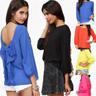 Ladies Women Summer Long Sleeve Chiffon Blouse Backless Bowknot Casual Shirt Top