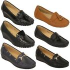 Ladies Loafers Shoes Kelsi Slip On Leather Look Fringe Casual Fashion Designer