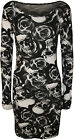 New Womens Skull Roses Print Long Sleeve Ladies Stretch Bodycon Mini Dress 8-14