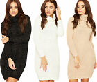 Womens Polo Lurex Jumper Dress Ladies Cable Knitted Sparkle Cowl Neck Top