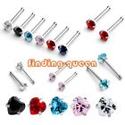 1x Punk Stainless Steel 20g 3mm Heart Clear CZ Gem Nose Bone Ring Stud Piercing