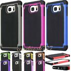 for samsung galaxy S6 case rugged hybrid 3 layer s 6 black hot pink red white /