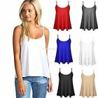 Womens Plain Swing Vest Sleeveless Top Strappy Cami Ladies Plus Size Flared 8-20