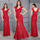 Sexy Women Red Lace Cocktail Evening Party Formal Gown Long Bridesmaid Dress