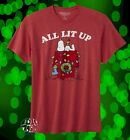 New Peanuts Charlie Brown Snoopy All Lit Up Christmas Mens Vintage T-Shirt