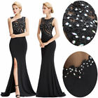 Black High Split Evening Prom Gown Formal Ball Party Cocktail Bridesmaid Dresses