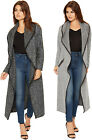 Womens Knitted Midi Cardigan Long Sleeve Collared Neck Zip Pocket Striped 8-14