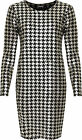 Womens Plus Houndstooth Party Dress Ladies Foil Print Long Sleeve Midi 14-28