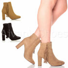 WOMENS LADIES HIGH BLOCK HEEL FRINGE GOLD STUDDED ZIP ANKLE BOOTS BOOTIES SIZE