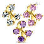TT 18K Gold GP Reverse CZ Belly Bar Ring (BL527) NEW