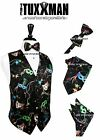 Mardi Gras Vest & Tie Mask Beads Fat Tuesday Party Formal Ball Tux FREE SHIPPING