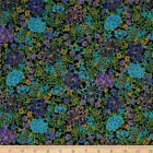 SUFFOLK GILDED FLORAL BLACK TIMELESS TREASURES QUILT SEW FABRIC Free Oz Post
