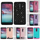 For ZTE Imperial Max / Max Duo 4G LTE Rhinestone Rugged Armor Bling Case Cover