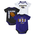 Baltimore Ravens Infant Bodysuit NFL 3-point Spread Baby Set of 3 Shirts