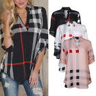 ISASSY Womens Plaid Plus V neck Shirt Autumn Top Blouse Long Sleeve T-Shirt