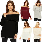 Womens Cable Knitted Lurex Jumper Ladies Bardot Off Shoulder Long Sleeve 8-14