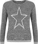 New Womens Knitted Star Pattern Long Sleeve Round Neck Sweater Top Ladies Jumper