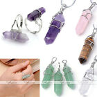 Women Men Natural Chakra Gemstone Pendant Necklace & Finger Ring Valentines Gift