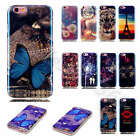 Fashion Blue+Colorful Pattern Soft Case TPU Shockproof Bumper Cover Fr Cellphone