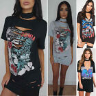 Women Retro Rock Style Long T-Shirt Blouse Mini Dress Party Holiday T Shirt Tops