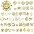 Metal Filigree Links Flower/Round/Oval/Square/Teardrop Pendants Jewelry DIY