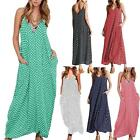 Summer Beach Women Sundress Casual Loose Speghatti Strap Long Maxi Dress S2X7