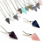 Natural Gemstone Crystal Healing Chakra Reiki Silver Stone Pendant Necklace Mix