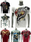 Artful Custom Men T-shirt Present Gift Skull Casual Cotton Tee Dragon Rose Cross