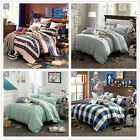 New Striped Quilt Duvet Doona Cover Set 100% Cotton Single/Queen/King Bed Size