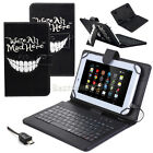 "For 7"" 8"" 9"" 10.1"" Tablets We're All Mad Here Leather Case Keyboard Cover Gift"