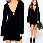 Womens Girl Skater Dress Velvet Long Sleeve V-Neck Cocktail Short Mini Dress HOT