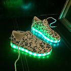 LED Light Unisex Luminous Shoes Sportswear Sneaker Low-top Casual Shoes White
