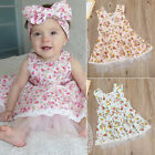 Kids Girls Sleeveless Cotton Dress Lace Floral Skirt Sundress Toddler Clothes