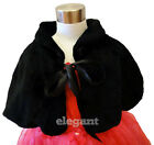 Black Faux Fur Children Kids Flower Girls Wedding Short Jacket Cape Coat 1-9 Yrs