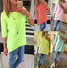 Fashion Women's Long Sleeve Shirt Tops Loose Cotton Pullover Casual Blouse CHIC