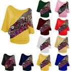 New Women's Loose Batwing Summer Sequin Cotton Shirt Blouse Tops T-shirt Plus