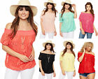 Womens Lace Gypsy Boho Top Necklace Short Sleeve Stretch Lined Ladies  8-14