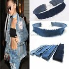 New Fashion Women Frayed Denim Jeans Boho Style Choker Necklace DZ88