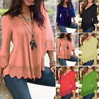 S~4XL Women's Casual Long Sleeve Lace Shirts Loose Blouse T Shirt Tops Plus Size