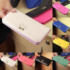 Women Soft Leather Long Section Bowknot Wallet Clutch Card Holder Purse Handbag