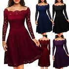 Slim Bodycon Women Lady Long Sleeve Bridesmaids Lace Dress Wedding Party Dress