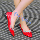 Womens Pointy Toe Rhinestones Slip on Patent Leather low heels  shoes plus Size