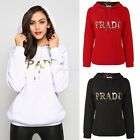 Women Fashion Long Sleeve Letter Print Casual Loose Hooded Hoodie EN24H
