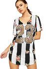 Womens Airtech Baseball Top Ladies Floral Animal Leopard Print Short Sleeve New