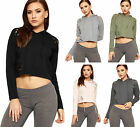 Womens Distressed Cropped Sweatshirt Top Ladies Hooded Long Sleeve Plain
