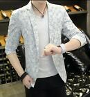 Blazer Mens Jacket Lapel Collar Floral One Button Short Casual Slim Fit Coat New