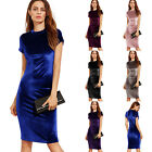 Women's Velvet Formal Party Cocktail Evening Pencil Short Sleeve Bodycon Dress